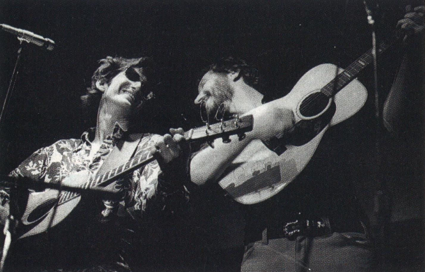 Jamming with fellow troubadour Jerry Jeff Walker (right) in 1974.
