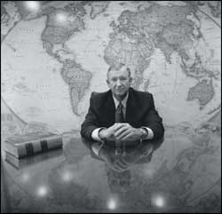 THE WORLD ACCORDING TO ROBERT B. SLOAN, JR: Baylor's president photographed in his office on August 29, 2003.
