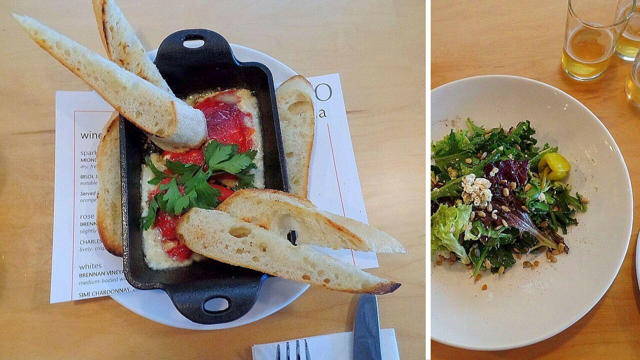 The roasted piquillo pepper appetizer and a gorgonzola-studded house salad.