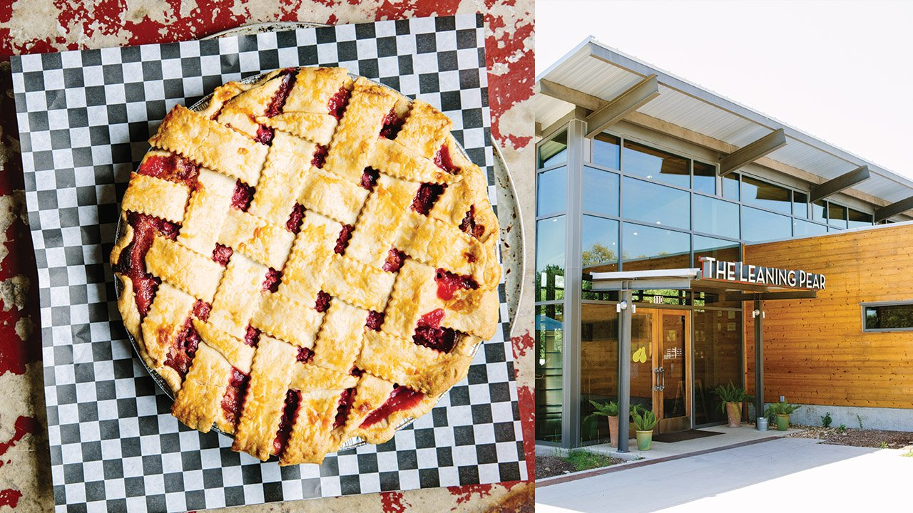 Treat yourself to one of the Wimberley Pie Company's homemade desserts; the exterior of the Leaning Pear, near the banks of Cypress Creek.