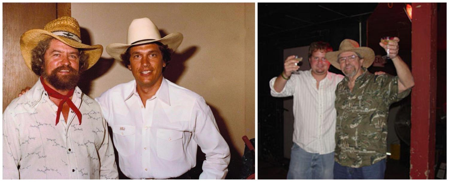 From left: Kent Finlay and George Strait in 1982. Randy Rogers and Kent Finlay celebrate the Randy Rogers Band signing with Mercury Records at Cheatham Street in 2005.