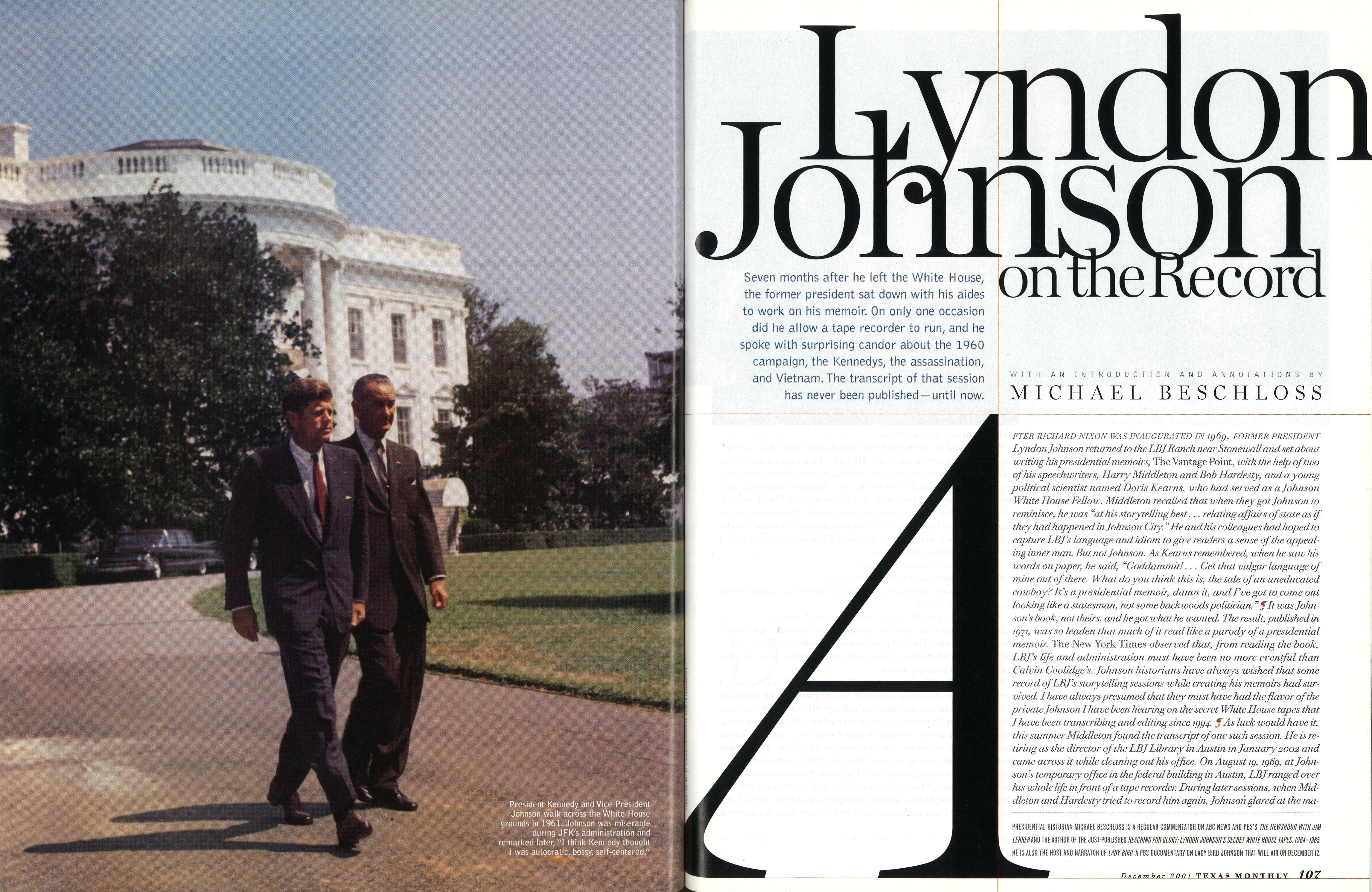 President Kennedy and Vice President Johnson walk across the White House grounds in 1961.